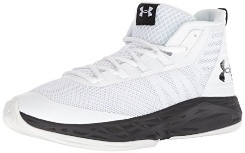 Under Armour Men's Jet Mid Basketball Shoe, White (100)/Black, 9.5