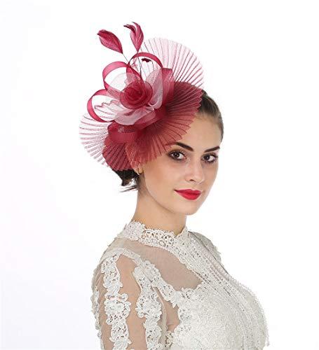 Lucky Leaf Fascinator-Hut / Haarschmuck mit Clip für Damen und Mädchen, mit Federschmuck, geeignet für Hochzeit, Cocktail, Party Gr. Medium, Fan Burgundy