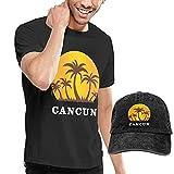 Tengyuntong Maglietta da uomo Cappello da Cowboy da Baseball Set Cancun Mexico Sunset and Palm Trees Beach Manica Corta per con Cappuccio