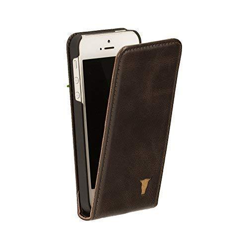 TORRO Funda Compatible con Apple iPhone SE (2016), iPhone 5S y iPhone 5 en Cuero Genuino de Calidad con Abertura Vertical con [Diseño Delgado] 4