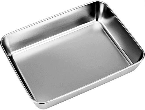 ChenXi - Bandeja para horno de acero inoxidable puro, rectangular, para hornear, borde profundo, pulido brillante y apto para lavavajillas, 30 x 40 x 6,5 cm