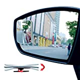 Ampper Blind Spot Mirror Rectangular, HD Glass Frameless Stick on Adjustabe Convex Wide Angle Rear View Mirror for Car Blind Spot, Pack of 4