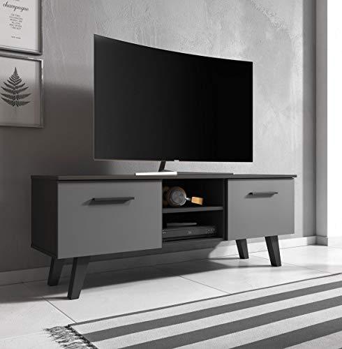 mobile tv 140 cm WFL GROUP Mobile TV Stile Scandinavo - Style Hygge - Color Legno - 140 cm - per TV Fino a 55' - Nero