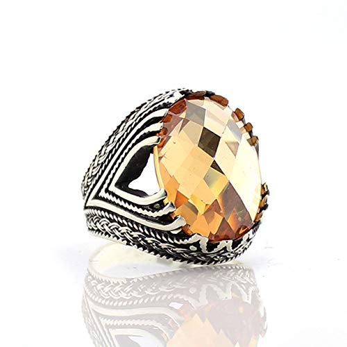 QHKS Turkish Style Real 925 Sterling Silver Natural Stone Ring For Men Zircon Onyx Aqeq Stones Jewelry Fashion Vintage Gift Accessory (Gem Color : Fluorescent Yellow, Ring Size : 11)