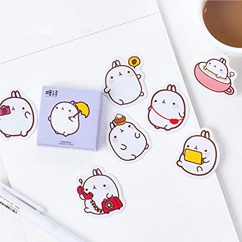 1 Box Cute Molang Mini Decorative Stickers Scrapbooking DIY Diary Album Stick Label Decor Student Supply