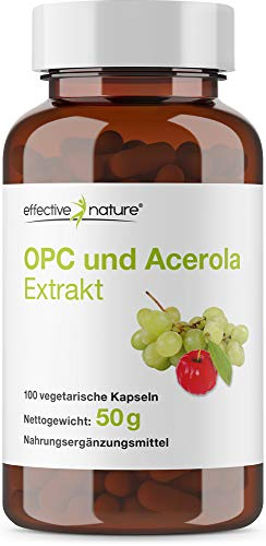 effective nature OPC und Acerola Extrakt mit natürlichem Vitamin C aus der Acerola Kirsche - 100 Vegane Kapseln