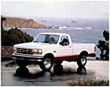 Classic Car prints Ford F-150 Regular Cab XLT Pickup (1992-1996) Truck Art Poster Print on 10 mil Archival Satin White/Red Front Side Static View (24'x36')