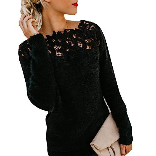 HenzWorld Damen Winter Warm Fluffy Mohair Fuzzy Jumper Damen Spitze Wolle Sweater Mäntel Einfarbige Langarm Tops (Schwarz Größe XL)