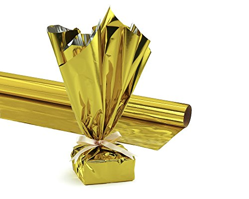 Hygloss Products Mylar Gift Wrap Roll - Great for Gift Bags, Baskets – 24 Inch x 8.3 Feet, Gold (n/a)