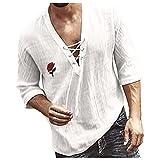 Xmiral Camicetta Top Camicie T-Shirt Uomo Casual Rose Print Camicetta con Scollo a V Mezza Manica Top T-Shirt (M,10bianca)