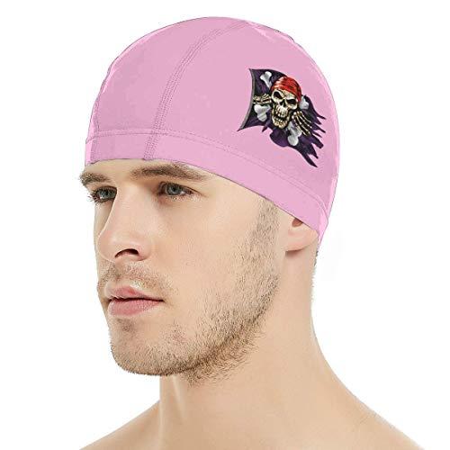 NAA Jolly Roger Pirate Flag Badekappe, 3D Ergonomisches Design Badekappe für Frauen Männer Langes Haar Kurzes Haar Erwachsene Badekappe