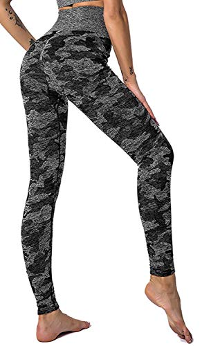 heekpek Pantaloni da Yoga Donna Reggiseno da yoga Camouflage a Vita Alta Leggings Increspati Leggings a Compressione Controllo della Pancia Abbigliamento Sportivo