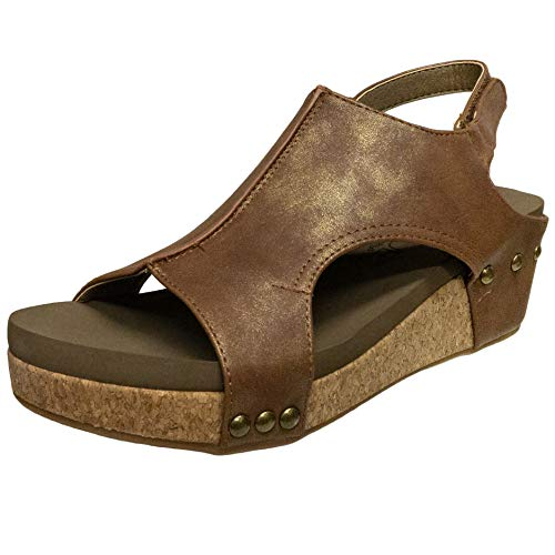 Corkys Women's Volta Wedge Sandal (Brown, 10)