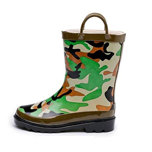 WXFF Infantiles Antideslizante Botas de Lluvia de los Muchachos del Camuflaje Zapatos Impermeables fácil de Usar con la manija Zapatos de Agua (Color : Camouflage, Size : 22cm)