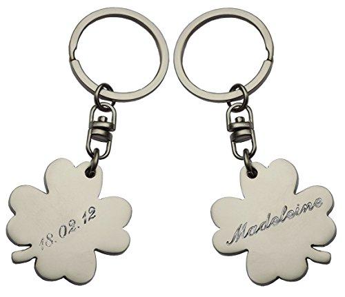 Schlüsselanhänger Kleeblatt/Klee: Glück am Schlüsselbund; mit SOFORTGRAVUR + VORSCHAU Gravur: 1 Vorname auf der Vorderseite + 1 Datum auf der Rückseite