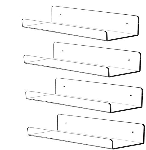 4 PCS Clear Acrylic Floating Shelves Display Ledge, 5 MM Thick Wall Mounted Storage Shelf for Nursery Decor,Invisible Kids Bookshelf and Small Toy Storage,15 Inch