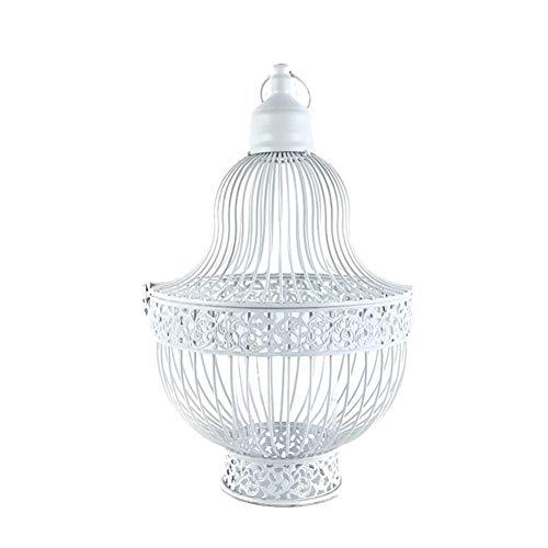 Chytaii 1 portavelas vintage de metal con forma de jaula de pájaro, color blanco, para casa romántica, boda, decoración de mesa