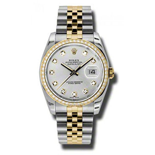 Rolex Oyster Perpetual Datejust 36 Silver Dial Stainless Steel and 18K Yellow Gold Rolex Jubilee Automatic Ladies Watch 116243SDJ
