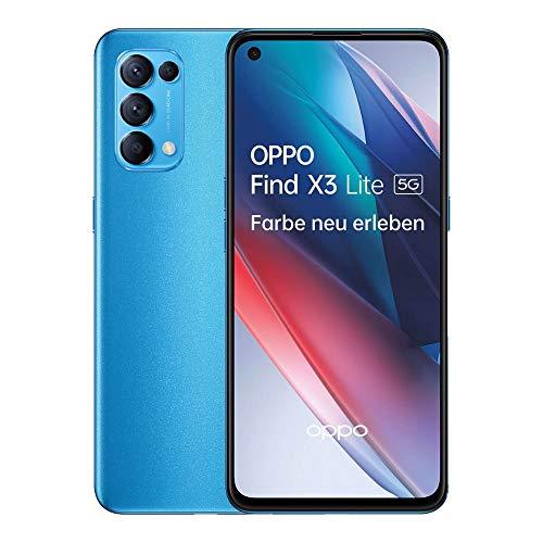 OPPO Find X3 Lite 5G Smartphone, 6,4 Zoll 90 Hz AMOLED Bildschirm, 64 MP Vierfachkamera, 4.300 mAh mit 65W SuperVOOC 2.0 Schnellladen, 8 GB RAM, inkl. Gutschein [Exklusiv bei Amazon], Astral Blue