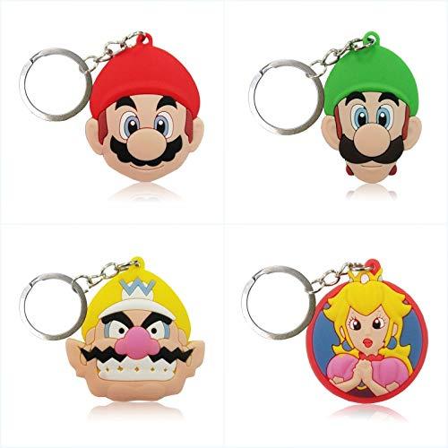 FENGHE Super Mario Spielzeug 4 Stück / Los Super Mario Cartoon Figur Schlüsselanhänger PVC-schlüsselring Kinder Geschenk Party Favor Key Cover Halter Zubehör Schlüsselbund Mode Schmuckstück