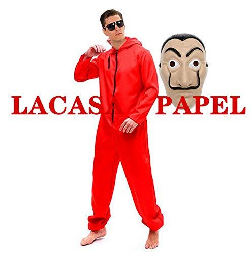 ZHANGXX kostuum Halloween COS kostuum Casa masker papier cosplay combinatie rode ganoven perfect party dress Up