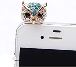 Big Mango Cute Crystal Rhinestone Owl Anti Dust Plug Stopper / Ear Cap / Cellphone Charms for Apple iPhone 5 iPhone 4 4s ,iPad Mini iPad 2 ,iPod Touch 5 4,Samsung Galaxy S3 S4 Note3 Note 2,HTC and Other 3.5mm Earphone Jack Phones ( Blue )