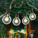 Luci stringa da esterno 100 piedi, globo di vetro G40 55 lampadine, luci sospese per interni/esterni impermeabili IP44 per la decorazione della pergola del cortile