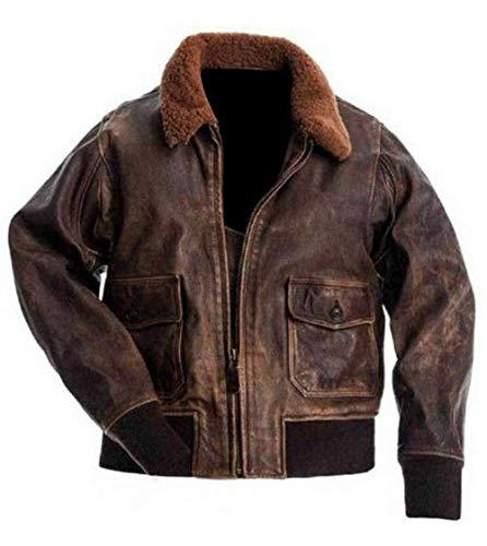 A2 Men's Navy Flight Distressed Brown Genuine Leather Aviator Jacket-Mens Bomber Jacket (XS, Brown)