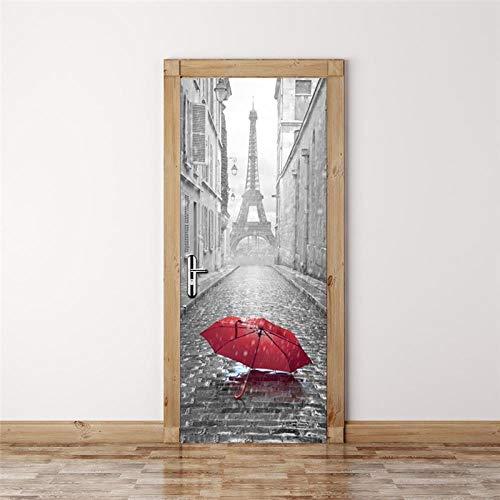 BXZGDJY 3D Deur Sticker - Franse Toren Rode Paraplu 90X200Cm - 3D Deur Stickers Muren Creatieve 3D Muur Zelfklevende Sticker Sticker Decal Art Decor Verwijderbare Waterdichte Mural Poster Scene Venster Deur Kamer