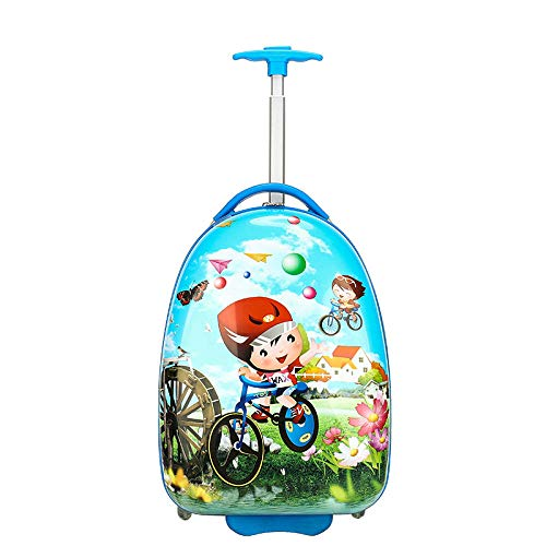 ZZLHHD Removable Kids Trolley Schoolbag,Cute cartoon trocket, fashion student suitcase-E,Detachable Wheeled Backpack for Kids