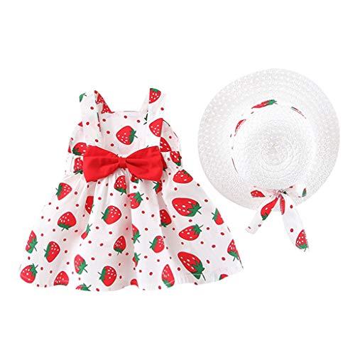 SALUCIA Kleinkind 2 Stück Baby Bekleidung Erdbeere Drucken Sonnenhut Kind + Mädchen Outfits Kleider Blumen Weste Sommer Kleidung Cotton Strampler Spielanzug 0.5-3 Jahre