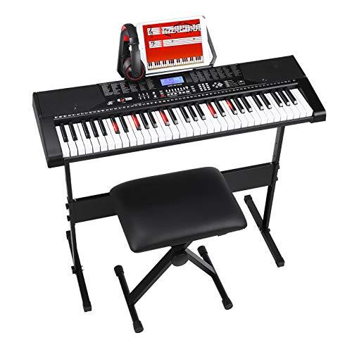 MVPower 61-Leuchtentasten-Elektronische Klavier mit Keyboardständer und Hocker, Komfort-Kopfhörer und Notenständer, Lautsprecher und Aufnahmemodus, 255 Rhythmen, 255 Sounds,50 Demo, Schwarz