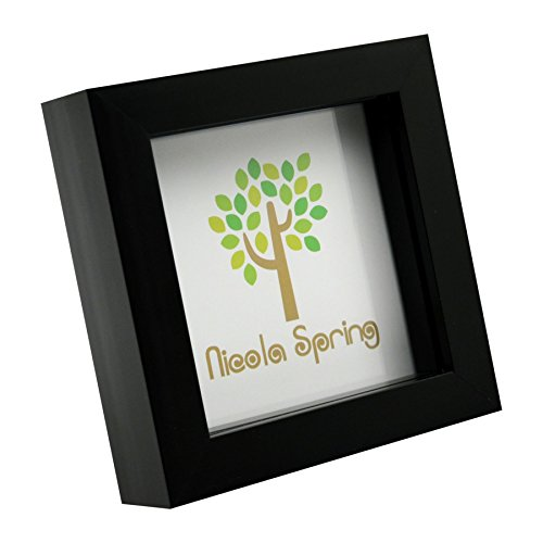 Nicola Spring 4x4 (10 x 10cm) Square Box Glass Photo Picture Frame, Standing & Hanging - Black