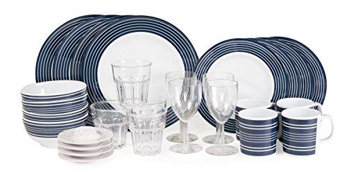 Sesua Melamin Campinggeschirr Navy- Pinstripe Blau-Weiß 28 Teile Inkl.4X Wasser +4X Weinglas +4X Eierbecher