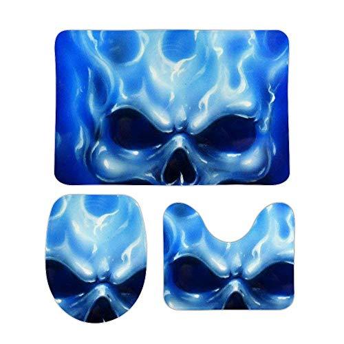 RedBeans rutschfeste Badematte, 3-teiliges Flanell-Badezimmerteppich-Set, Totenkopf mit blauen Flammen, weicher WC-Vorleger, rutschfester Duschvorleger