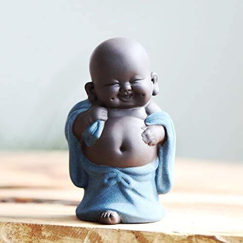 Keramik Tiny Cute Buddha Statue Mönch Figur Kreative Baby Crafts Puppen Ornamente Geschenk Classic Delicate Ceramic Arts and Crafts Tee Zubehör 4 '' Zoll hoch (Stil 5)