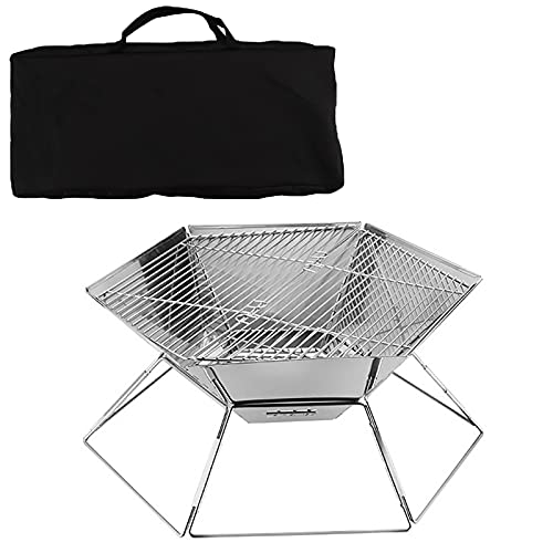 ZDYLM-Y Camping Portable Fire Pit, 2 in 1 Collapsible Stainless Steel Grill and Foldable Firepit Bowl with Carrying Bag, for BBQ, Camping, Picnic