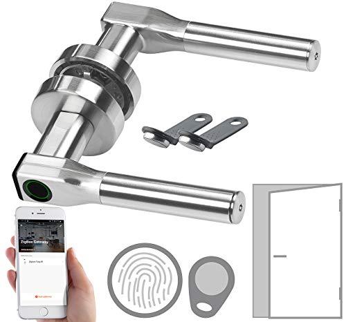 VisorTech Schließzylinder: Sicherheits-Türbeschlag, Fingerabdruck, Transponder, App, DIN rechts (Türgriff mit Fingerabdruck)