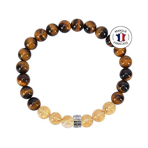 Bracelet Abondance et Prospérité - Pierres Naturelles certifiées en 8mm - Œil de tigre d'Afrique du Sud / Citrine du Brésil - Perle AZ en Acier Inoxydable - Bracelet Extensible - Fait Main 1821