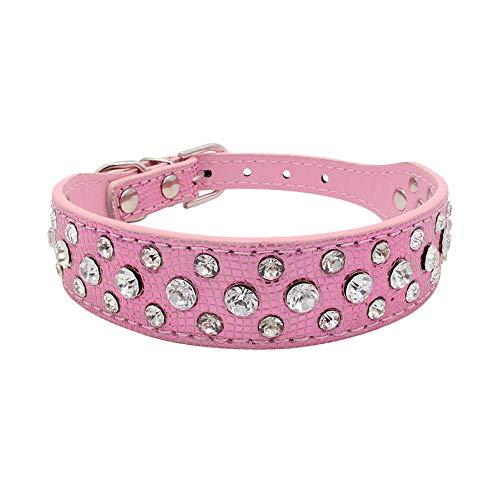 Smniao Collar ancho de piel brillante con diseño de diamantes de imitación, suave y ajustable, para perros pequeños, medianos y grandes (L, rosa)