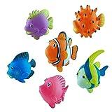 BOHS Gummi-Spritzende Fische - Niedlicher schwimmender Cartoon Weiche Meerestiere - Baby-Badespiel Badewanne Wasserspielzeug(6er-Pack)