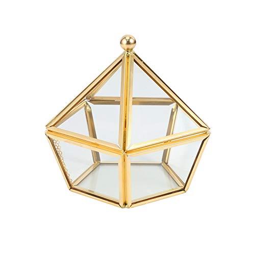 Kaxofang Caja de Anillo de Vidrio Caja de La Joyería de La Boda Cubierta de Cristal de Flor Inmortal Decoración Creativa de La Casa
