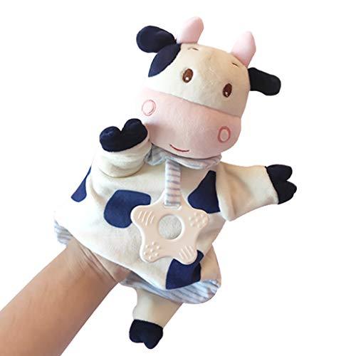 PHOOW Marionetas de Peluche Animal Lindo Marionetas de Mano, muñeca de Juguete de Felpa Suave marioneta del Guante Appease for Padres e Hijos Juegos de rol Educación Infantil (de Vaca)