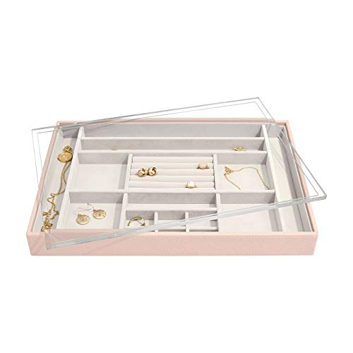 Stackers Blush Pink Supersize Jewellery Box Ring/Accessories Layer With Acrylic Display Lid
