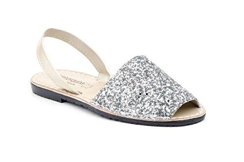 Menorca-Sandale Avarcas Menorquinas IM Glam-Look (39, Silber)