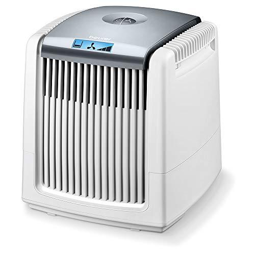 Beurer LW 230 - Humidificador y purificador de aire en un solo dispositivo, para habitaciones de hasta 40 m², elimina el polvo, el polen, los pelos de animales y los olores del aire, color blanco