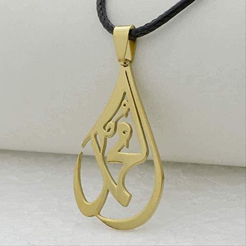 CCXXYANG Co.,ltd Collar Colgante De Cuerda para Mujer Acero Inoxidable Color Dorado Joyería Islam Árabe Musulmán Amuleto De Oriente Medio