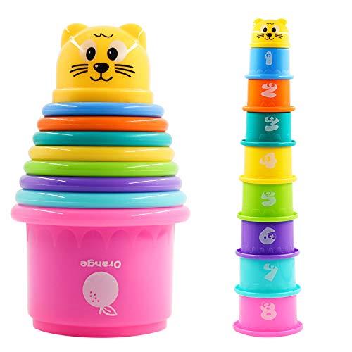 PHYLES Cubos apilables, Juguete de Taza apilable, Torre apilable para niños, Juguetes de Arena para bebés para clasificar y apilar Juegos(9 Piezas)