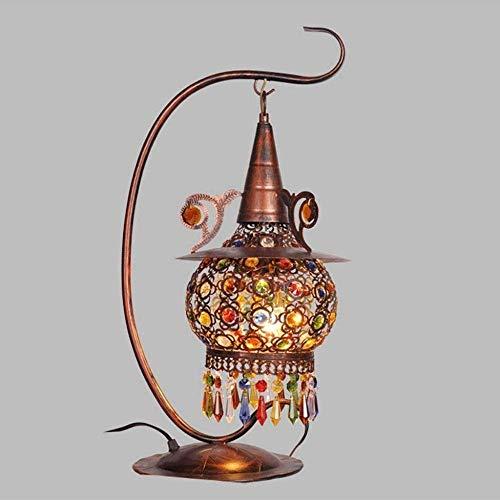 Leeslamp bedlampje tafellamp tafellamp tafellamp tafellamp Zuidoost-Aziatische rustieke handgemaakte tafellampen conische lampenkap gekleurd kristal voor een woonkamerbibliotheekslaap