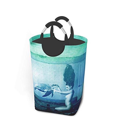 xuexiao Cesta de lavandería para niña desnuda y tortuga marina, impermeable, plegable, 50 litros para baño, colección de juguetes